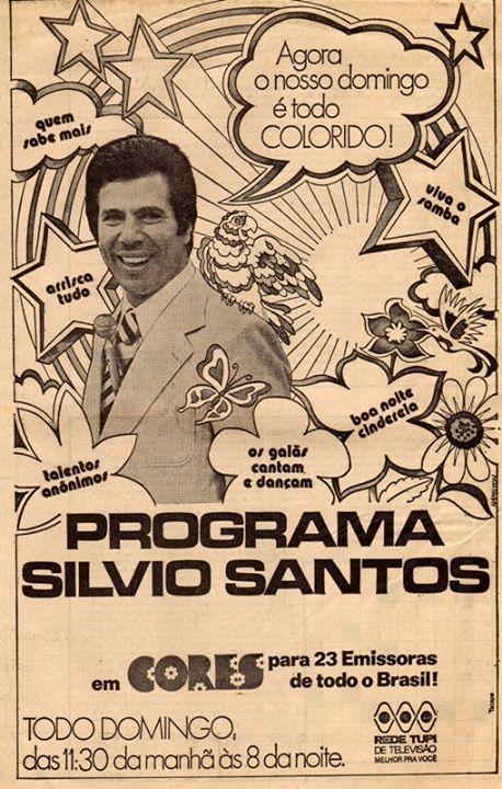 Propaganda do Programa Silvio Santos na TV Tupi promovendo a exibição a partir daquela data em cores