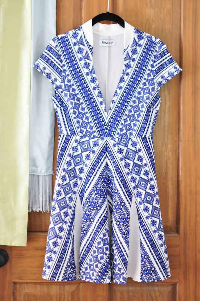 blue and white Pencey dress