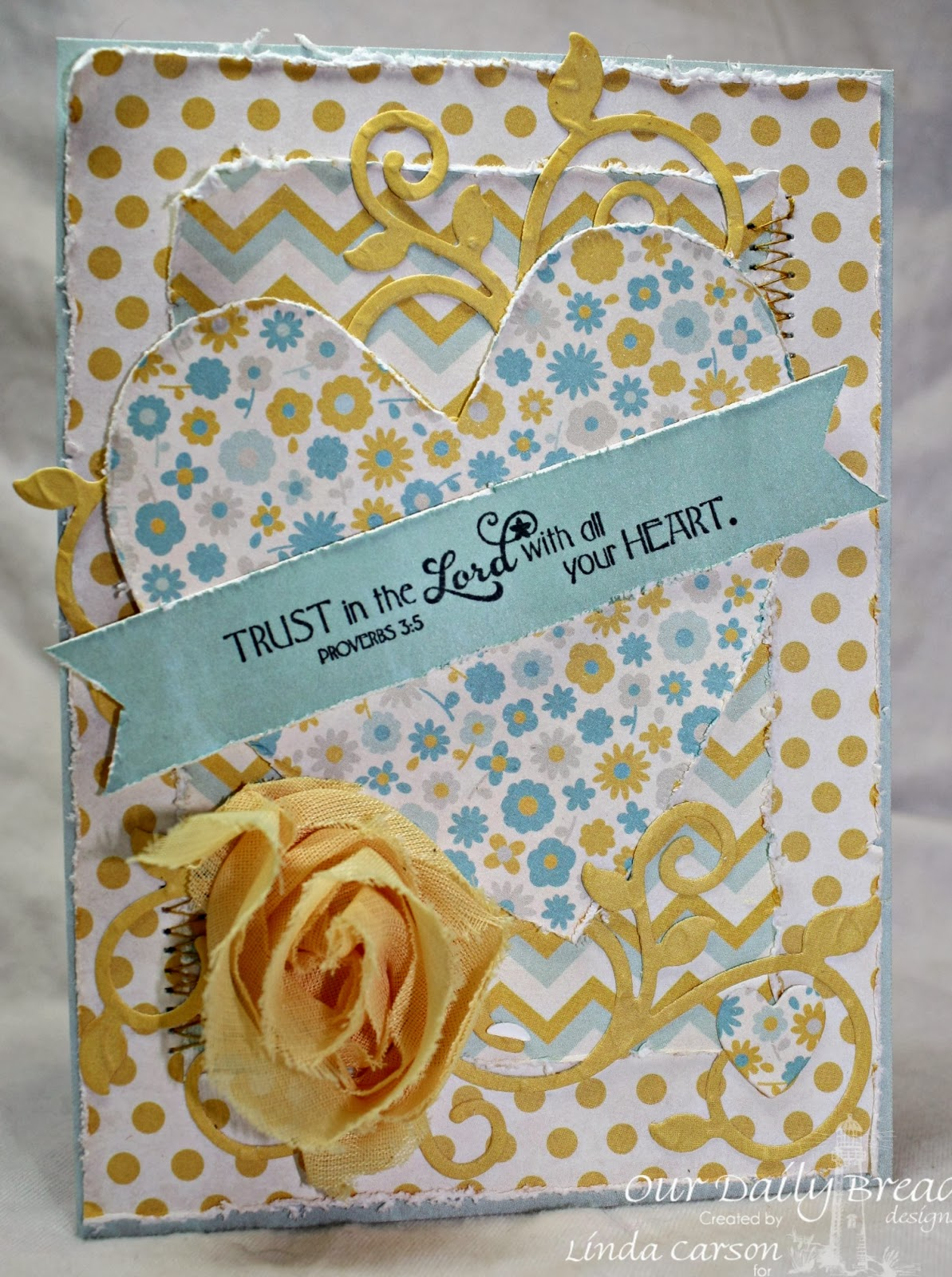 Our Daily Bread Designs, Clean Heart, Ornate Hearts dies, Fancy Foliage die, designer Linda Carson