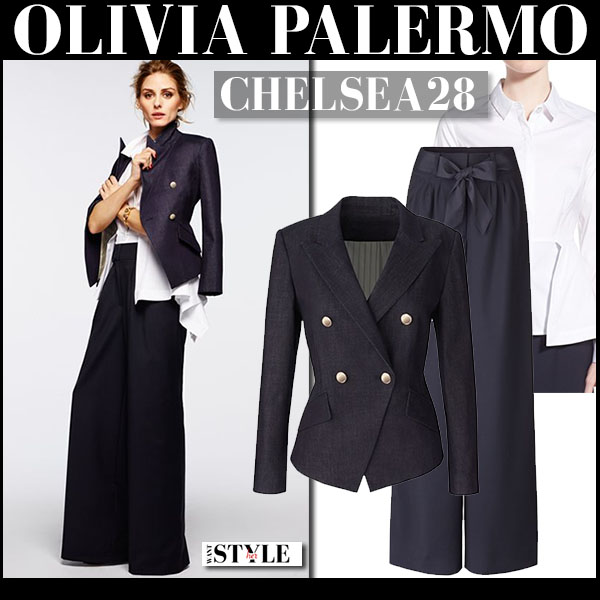 Olivia Palermo in dark blue blazer, dark navy trousers and white shirt Chelsea28 collection smart outfit