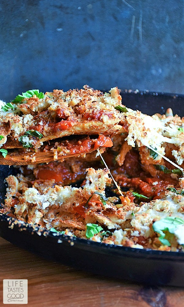 It is easy to make Chicken Parmesan in a skillet. No more dredging the chicken in the breading, and everything, even the sauce, cooks in one skillet, so there is much less mess! I like that! Skillet Chicken Parmesan recipe | by Life Tastes Good is on the table in about 40 minutes, and thanks to fresh ingredients, it tastes like your Italian grandmother made it. You know, if you had an Italian grandmother <wink>