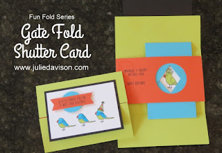 Stampin' Up! Bird Banter Gate Fold Shutter Card + Video Tutorial ~ Top 18 in 2018 ~ www.juliedavison.com