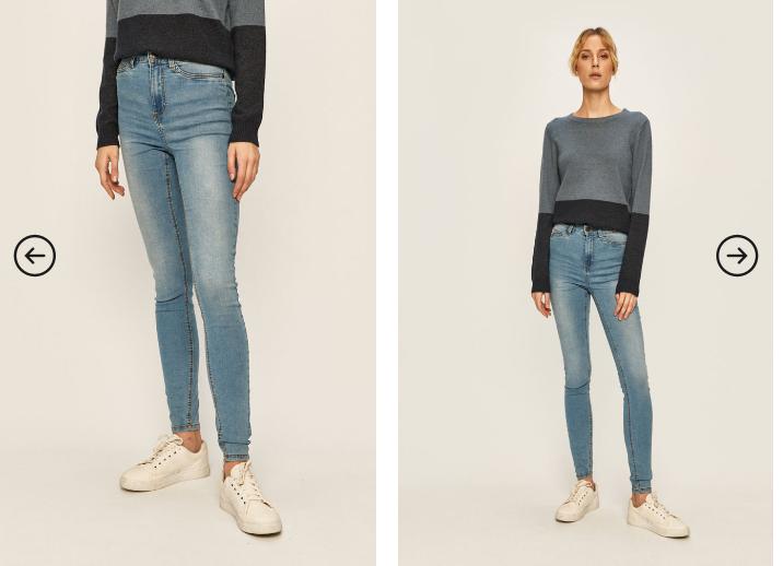 Jeansi dama albastri cu elastic la glezna moderni ieftini Noisy May