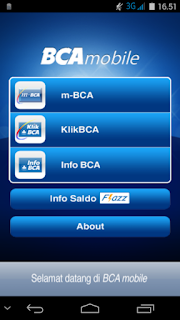 Tampilan Awal BCA Mobile