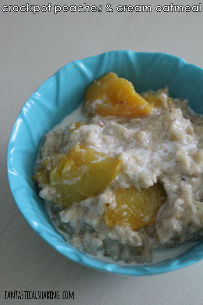 Crockpot Peaches & Cream Oatmeal // Steel cut oatmeal and a few other ingredients turn into the perfect summer breakfast - so delicious! #peachesandcream #FantasticalFoodFight #oatmeal #breakfast #crockpot