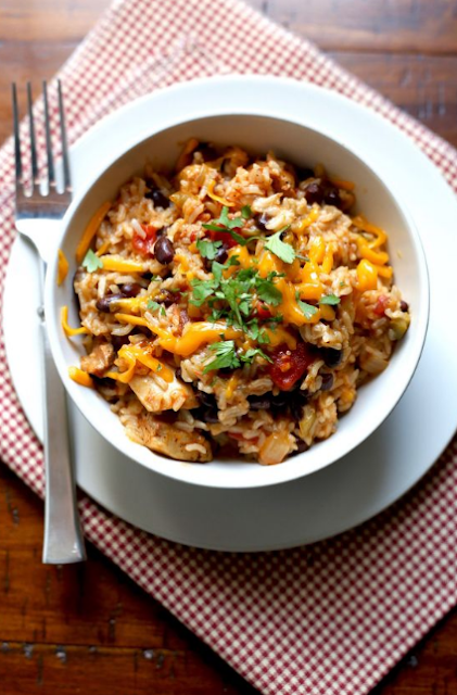 Pressure Cooker Chicken, Black Bean, and Rice Burrito Bowls