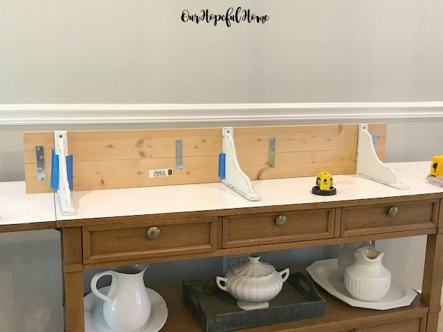 distressed corbel DIY shelf mending plate laser level painters tape buffet ironstone