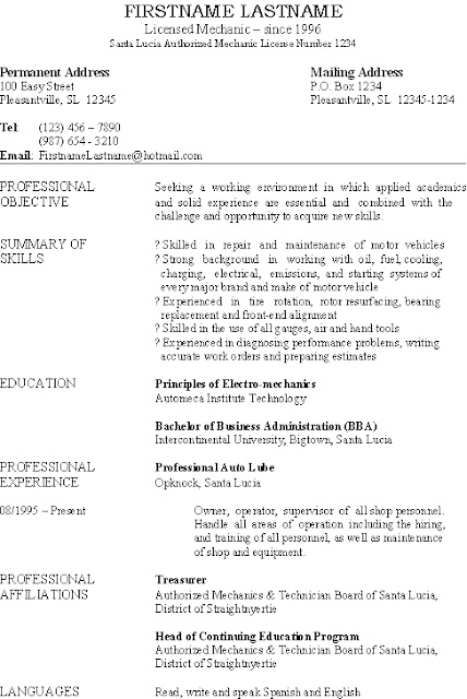 Basic resume, this one is for an auto mechanic and small business