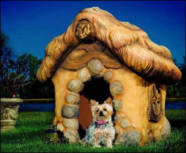 Storybook Style Carved Dog House  pet gift ideas - gifts for pets - gifts for dogs - gifts for cats - creative gifts for animal lovers‎ - gifts for pet owners pet stuff - cool stuff to buy - pet supplies - pet cookie jars - dog throw pillows - dog themed bedding - cat throw pillows - paw pillows - gifts for cat loving friends - gifts for dog loving friends