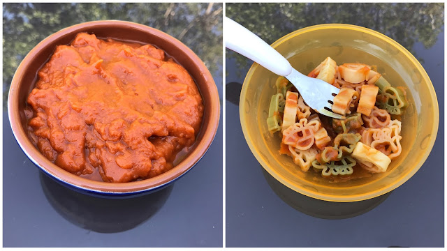 A bowl of tomato sauce with no visible vegetables and a bowl of animal shaped vegetables and stirred through tomato sauce