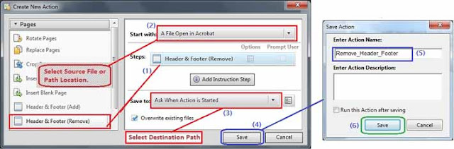 Add and save Action for remove header and footer