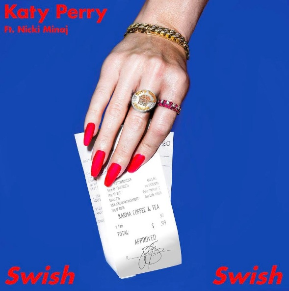 "Album art of Katy Perry's new song ""Swish Swish"" ft Nicki Minaj"