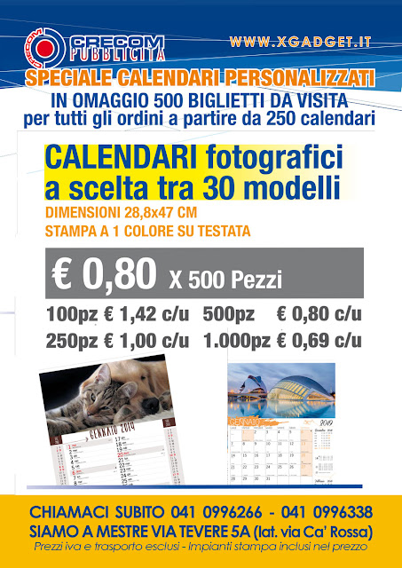 Offerta Calendari... in regalo una fornitura di biglietti da visita