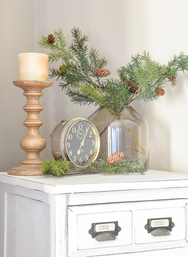 Decorate for winter with faux greenery