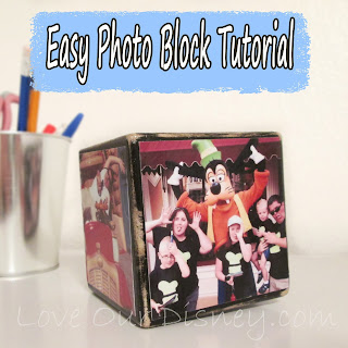 This photoblock is a cute way to display photos at work, in a home, or in a kids room. Check out this easy tutorial from LoveOurDisney.com