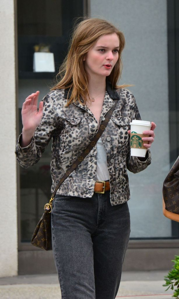 Kerris Dorsey in Leopard Jacket at Beverly Hills