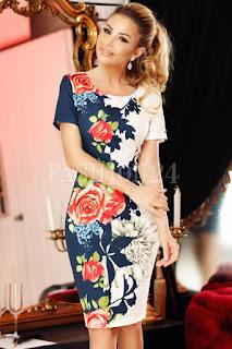 Rochie de zi si de seara, in nuante de alb si bleumarin, cu imprimeuri florale