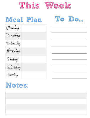 menu plan printable