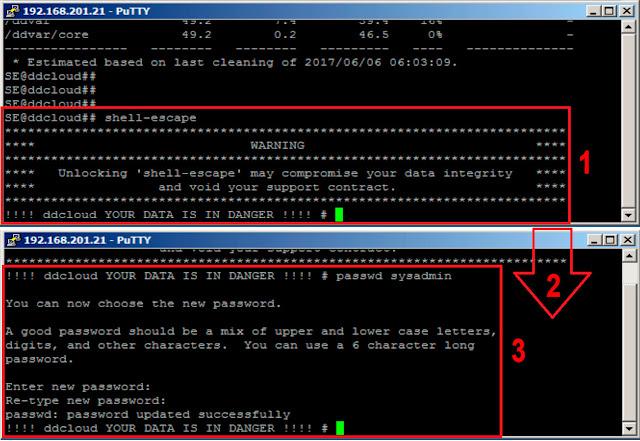 EMC Data Domain: reset sysadmin password - shell-escape