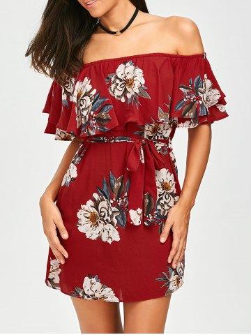 Belted Off The Shoulder Flounce Summer Dress - Red - M