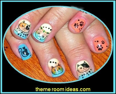 I Love My Cat Kitten Paw Prints Water Slide Nail Art Decals-animal themed nails
