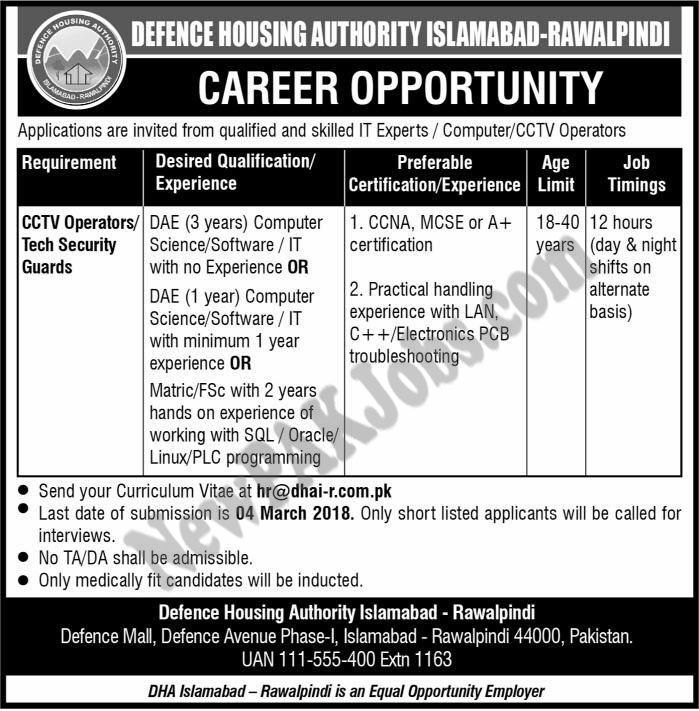 Defence Housing Authority Islamabad, Today Latest Jobs