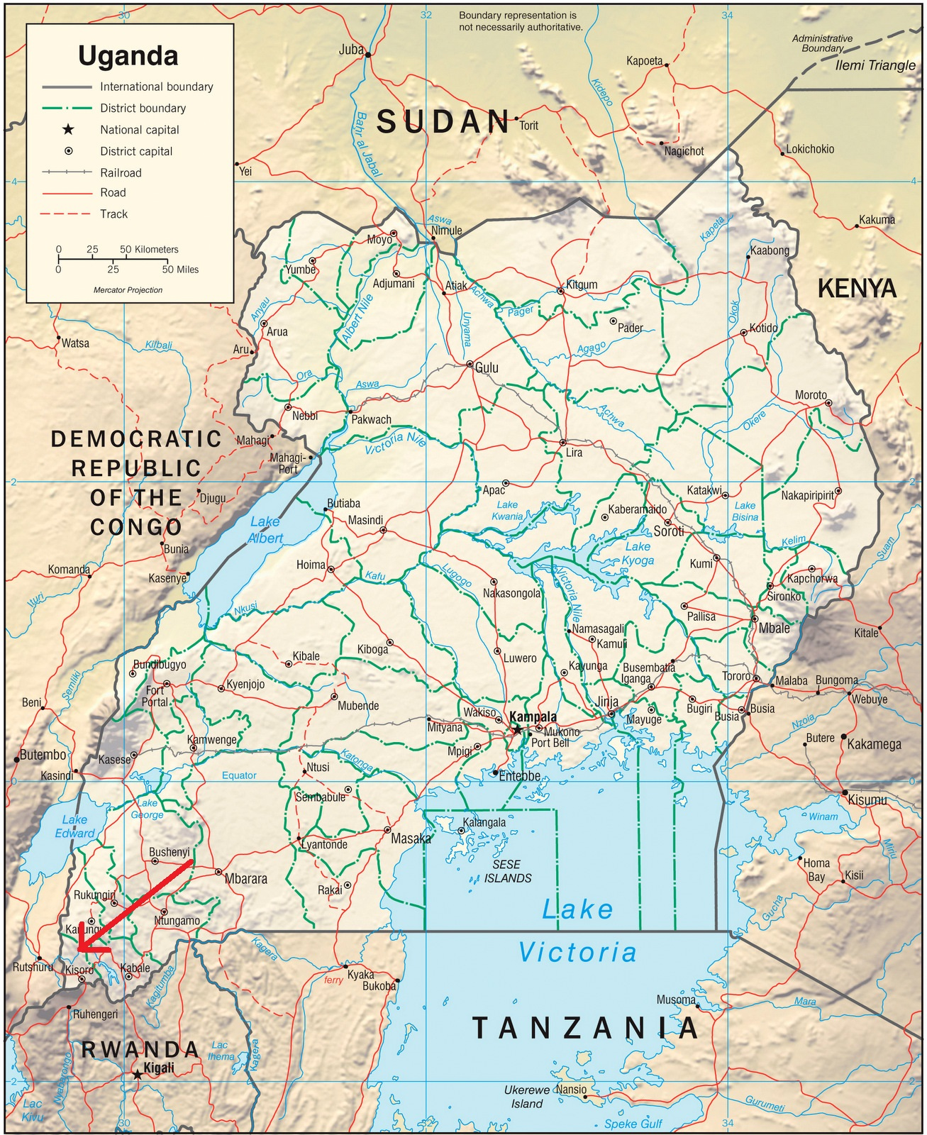 the end of the red arrow indicates the approximate position of the park adjacent to the drc and rwanda