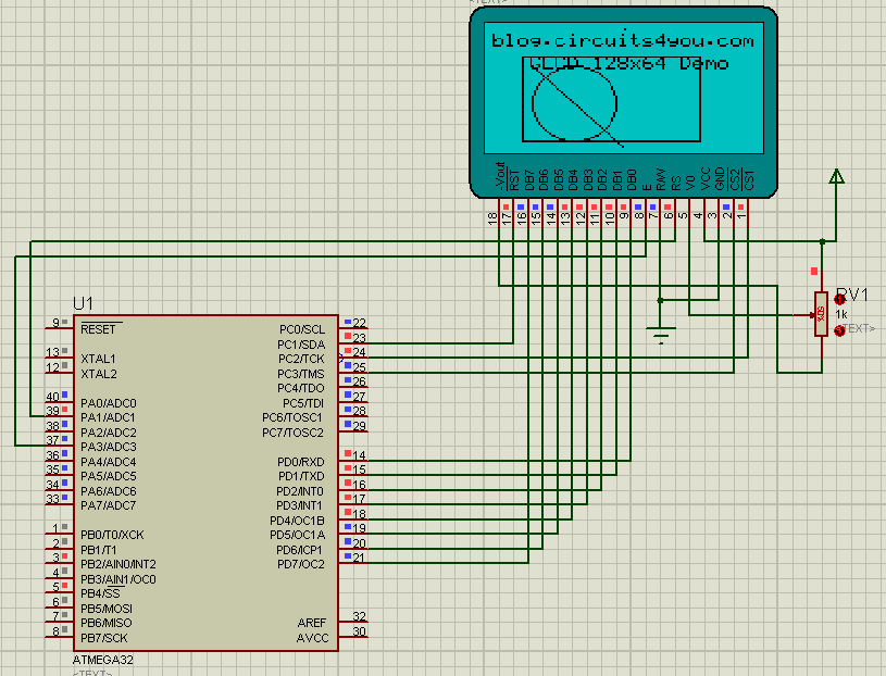 circuits4you com: Graphic 128x64 LCD interface with Atmega8