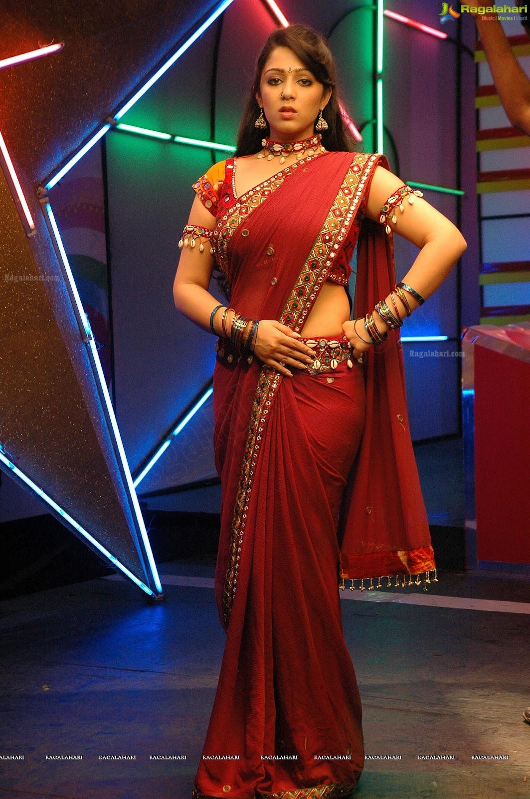 Spicy Saree: Indian Actress Charmi Hot Photos In Red Saree