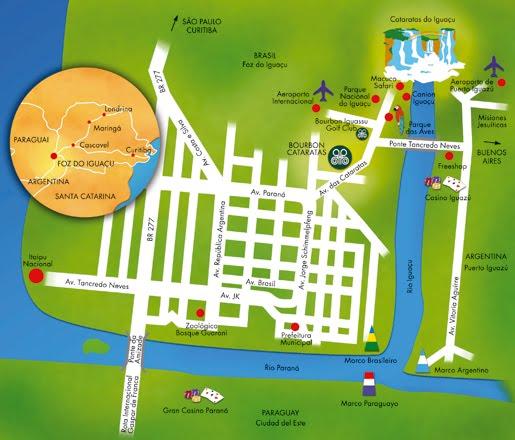 Mapa turístico de Foz do Iguaçu