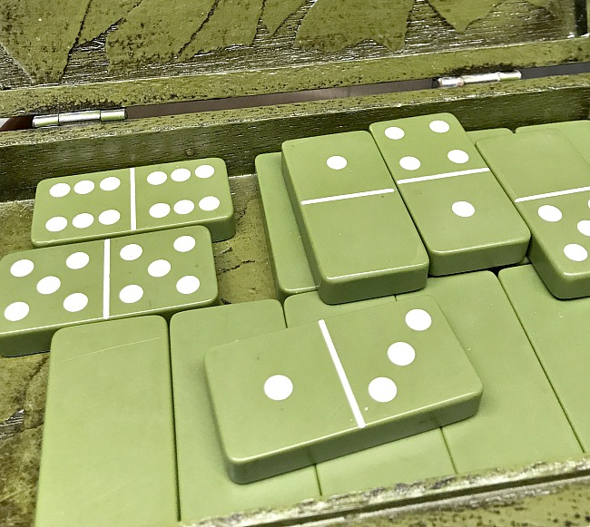 repurposed green dominoes for christmas ornaments