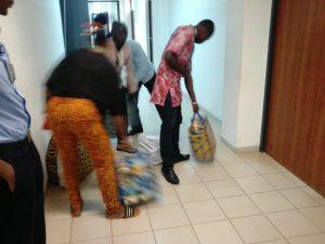 Recall process: INEC officials drop notice, Ghana-must-go bags outside Senator Dino Melaye?s office