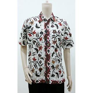 Batik Kemeja Batik Lengan Pendek Cakar Putih - Hitam HQ