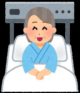 いろいろな表情の入院中の人のイラスト(おばあさん・笑った顔)