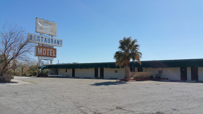 Abandoned Arne's Royal Hawaiian Motel in Baker, California