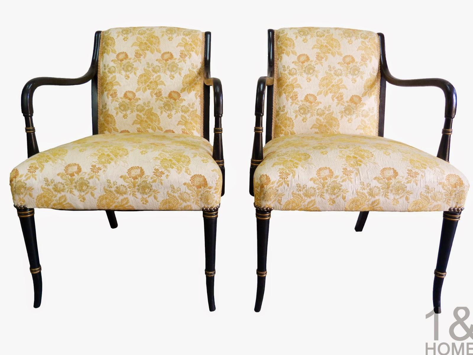 Hollywood Regency-Style Gilt Black Armchairs lacquer ebony