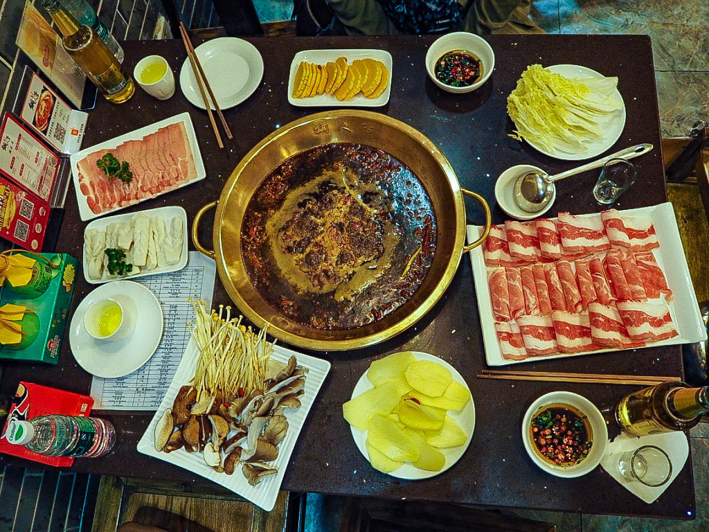 Traditional Chinese hotpot in Chengdu, China