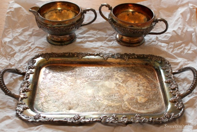 Tarnished Silver Tray, creamer, and sugar dish