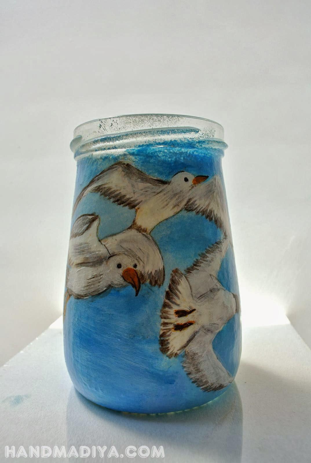 Декорирование стеклянной баночки, декупаж. Decoupage jars