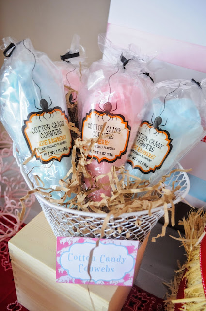 Cotton Candy as cobwebs for a Charlotte's web birthday party