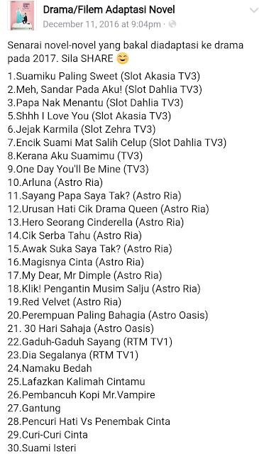Antara Novel-Novel Yang Bakal Diadaptasi Drama Untuk Tahun 2017...Jom Selayang Pandang...