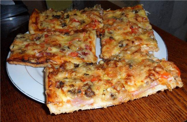 рецепт домашней пиццы с колбасой на молоке