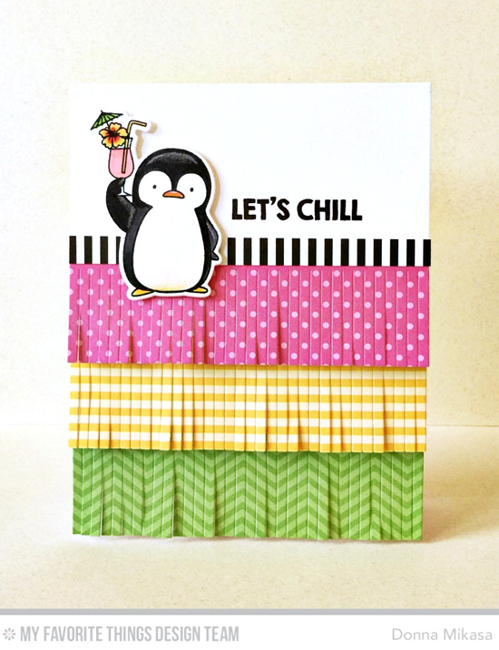 Handmade card from Donna Mikasa featuring Birdie Brown Penguins in Paradise stamp set and Die-namics and Fringe Die-namics #mftstamps