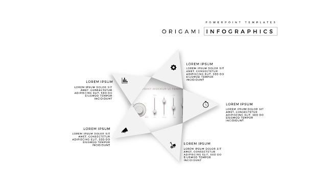 5 Icon options of Abstract Origami Infographics for PowerPoint Templates with placeholder in White Background Slide 2