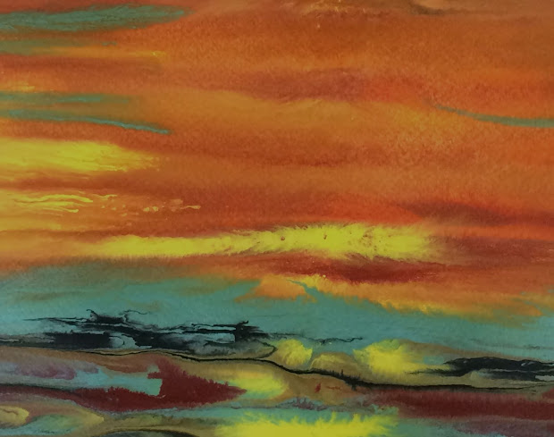 """Daily Painters Abstract Landscape Sunset Art Painting """"blazing Sky Reflected"""