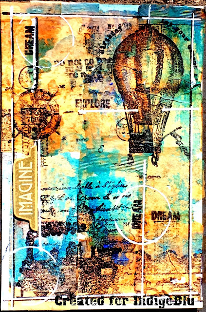 Art journal page by Solange Marques featuring IndigoBlu stamps.-01