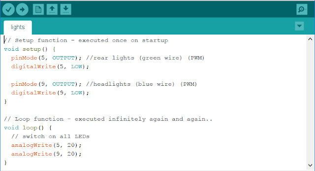 Arduino IDE example code for LED lights
