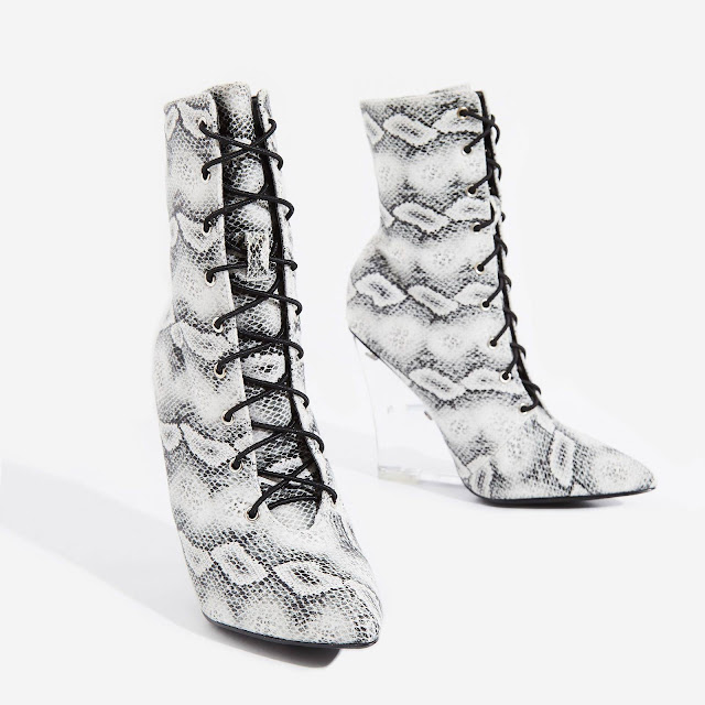Snake print and perspex wedge bootie by Ego Shoes