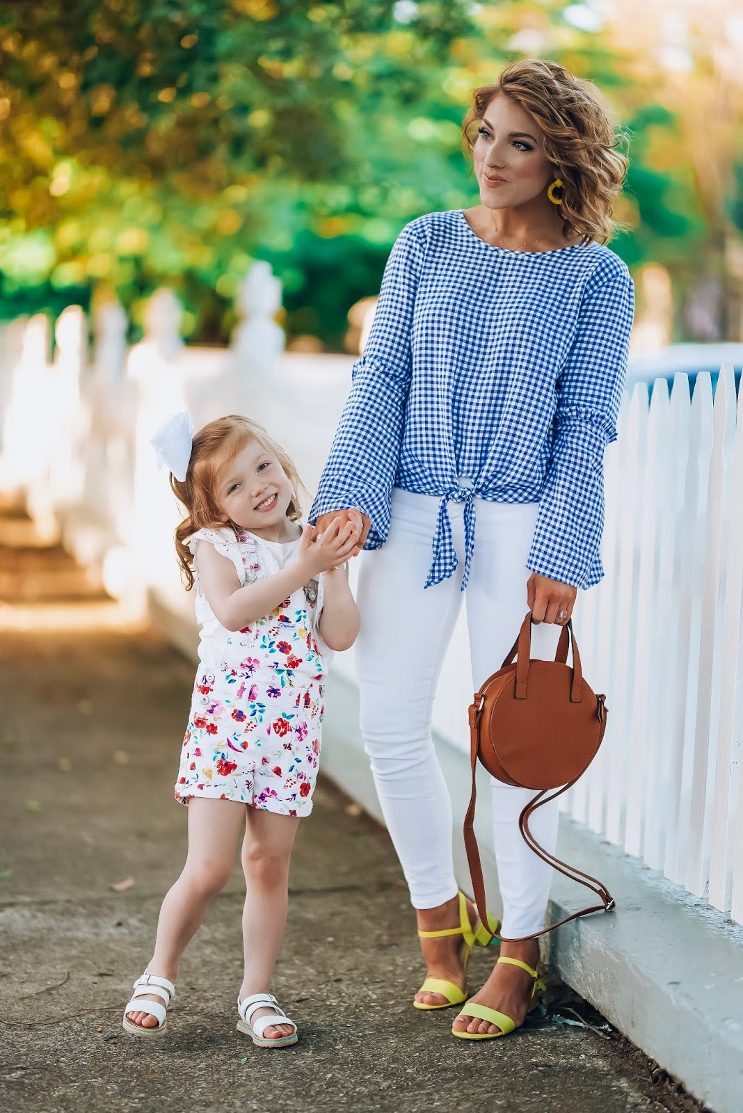 Spring Favorites with Walmart: $13 Gingham Top, $14 Circle Bag, Under $40 Yellow Sandals - Something Delightful Blog #springfashion #wedressamerica #walmartfashion