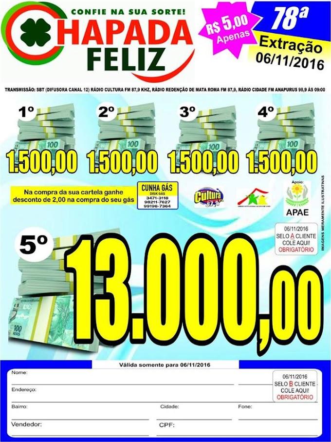 Com apenas R$ 5,00 reais você pode ganhar até 13 mil reais no Chapada Feliz, e veja a lista de contemplados da 77ª Extração.